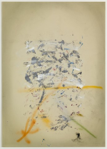 Daniel Schubert – untitled 2012 – egg tempera paint, oil paint, sprayed enamel on canvas  210 x 150 cm