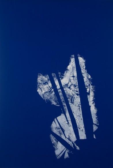 Daniel Schubert – untitled 2014 – acrylic paint on blue fabric 220 x 150 cm