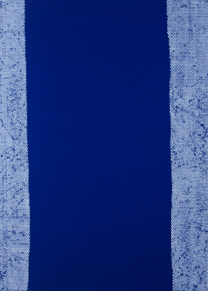 Daniel Schubert – untiled 5 (from the Nivea series) 2014 – acrylic paint on blue fabric 210 x 150 cm
