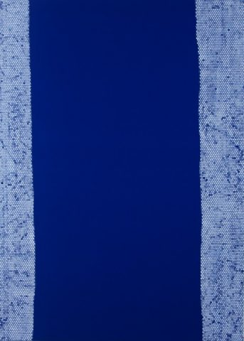 Daniel Schubert - untiled 5 (from the Nivea series) 2014 - acrylic paint on blue fabric 210 x 150 cm