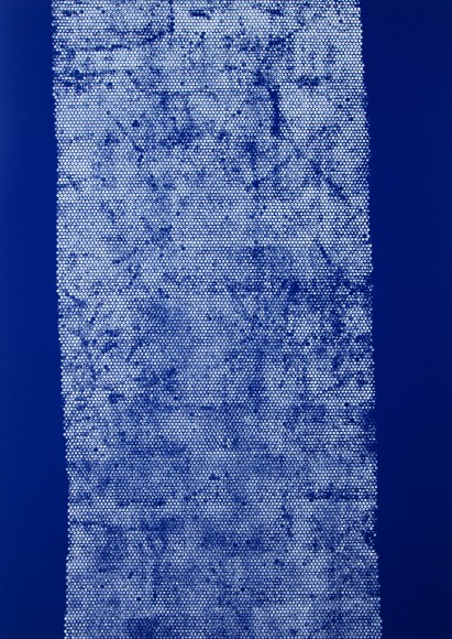 Daniel Schubert – untiled 4 (from the Nivea series) 2014 – acrylic paint on blue fabric 210 x 150 cm