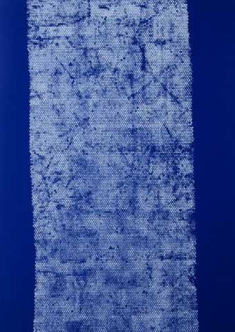 Daniel Schubert - untiled 4 (from the Nivea series) 2014 - acrylic paint on blue fabric 210 x 150 cm